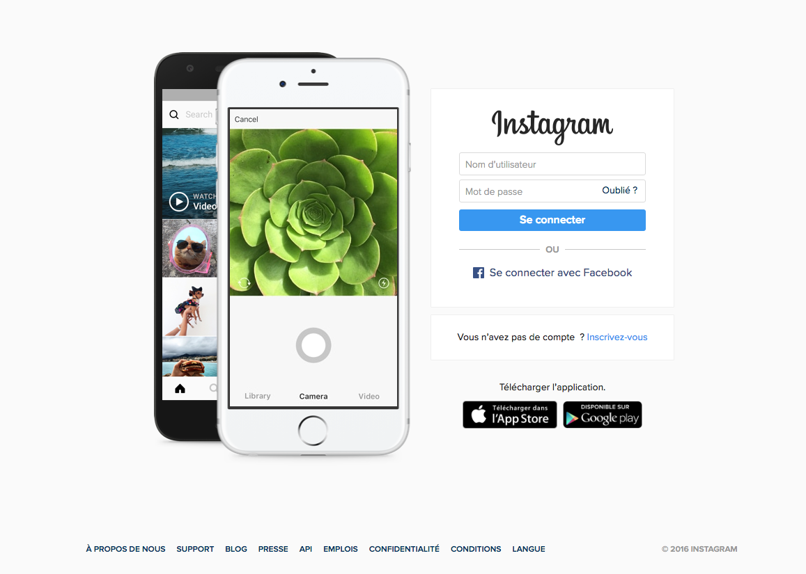 instagram landing page